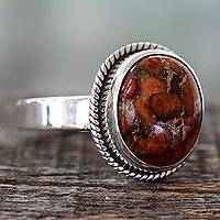 Sterling silver cocktail ring, 'Sunset Sky in Jaipur' - Orange Composite Turquoise Silver Ring from India