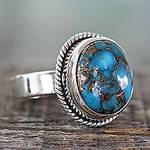 Silver Silver and Blue Composite Turquoise Ring from India, 'Blue Sky in Jaipur'