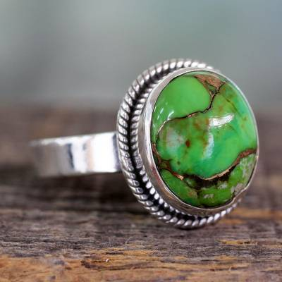 Silver Silver Ring with Green Composite Turquoise