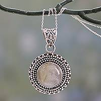 Rutile quartz pendant necklace, 'Golden Hair' - Rutilated Quartz Pendant Necklace in Sterling Silver