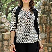 Cotton tunic, 'Paisley Dance' - Grey and Black Cotton Paisley Tunic with Pink Accents