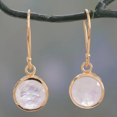Vermeil rainbow moonstone dangle earrings, 'Elite Discretion' - Indian Artisan Hand Crafted 22K Gold Over Sterling Silver Ve