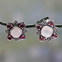 Rainbow moonstone and garnet button earrings, 'Mughal Moonlight' - Womens Rainbow Moonstone and Garnet Earrings From India