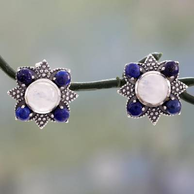 Lapis and rainbow moonstone button earrings, 'Mughal Moonlight' - Fair Trade Indian Silver Earrings with Lapis and Moonstone