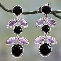 Onyx and amethyst flower earrings, 'Lush Flora' - Indian Floral Earrings with Amethyst and Onyx
