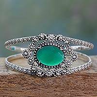 Onyx cuff bracelet, 'Green Jaipuri Gem' - Indian Artisan Handcrafted Contemporary 925 Sterling Silver