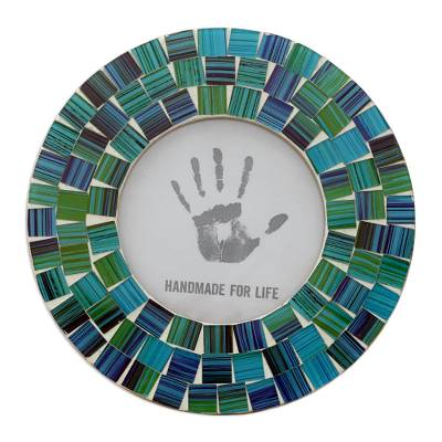 Glass mosaic photo frame, 'Aqua Mist' (4x4) - Green and Blue Handcrafted Circular Glass Mosaic Photo Frame
