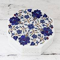 Marble inlay jewelry box, 'Blue Roses' - Fair Trade Marble Inlay Jali Work Octagonal Jewelry Box by I