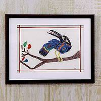 Quilling art, 'Blue Toucan' - Unique Quilling Paper Artwork of Toucan on Branch