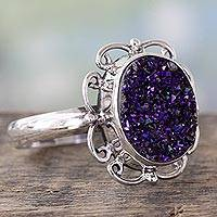Drusy cocktail ring, 'Purple Dazzle' - Handcrafted Silver Cocktail Ring with Sparkling Purple Drusy
