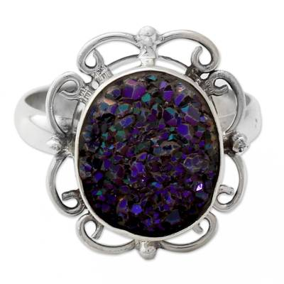 Handcrafted Silver Cocktail Ring with Sparkling Purple Drusy