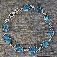 Sterling silver tennis bracelet, 'Serenity in Blue' - Blue Teardrop Composite Turquoise and Silver 925 Bracelet