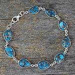 Blue Teardrop Composite Turquoise and Silver 925 Bracelet, 'Serenity in Blue'