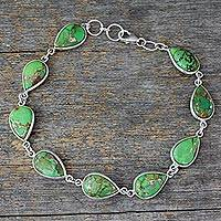 Sterling silver tennis bracelet, 'Serenity in Green'