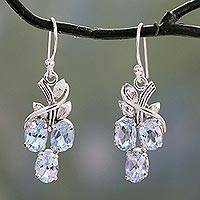 Blue topaz dangle earrings, 'Dewy Vines' - Six Carat Blue Topaz and Sterling Silver Dangle Earrings