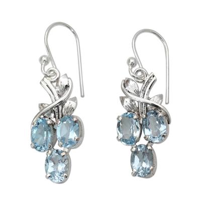 Blue topaz dangle earrings, 'Dewy Vines' - Six Carat Blue Topaz and Sterling Silver Dangle Earrings