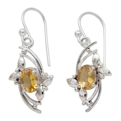 Leaf Theme Dangle Earrings with One Carat Citrine Gems