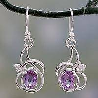 Amethyst dangle earrings, 'Garden Lilacs' - Rhodium Plated Silver Dangle Earrings with Amethysts