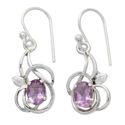 Amethyst dangle earrings, 'Garden Lilacs' - Rhodium Plated Silver Dangle Earrings with Amethysts