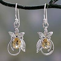 Citrine dangle earrings, 'Golden Buds' - Citrine Earrings in Leaf Themed Rhodium Plated Settings