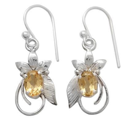 Citrine Earrings in Leaf Themed Rhodium Plated Settings
