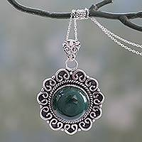 Malachite pendant necklace, 'Forest Reverie' - Natural Malachite Pendant Necklace in 925 Sterling SIlver