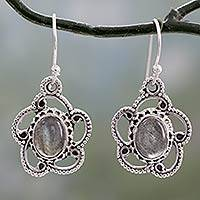 Labradorite dangle earrings, 'Intrigue' - Labradorite Dangle Earrings in Sterling Silver Settings