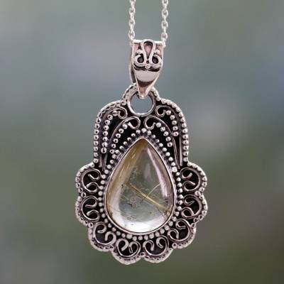Rutilated Quartz Pendant Necklace in Ornate Silver Setting