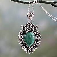 Malachite pendant necklace, 'Mirror of the Soul' - Hand Crafted 925 Sterling Silver and Deep Green Malachite Pe