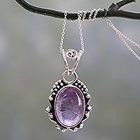 Amethyst pendant necklace, 'Twilight Mist' - Amethyst Pendant Necklace with Polished and Oxidized Silver