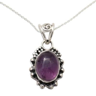 Amethyst Pendant Necklace with Polished and Oxidized Silver