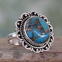 Sterling silver flower ring, 'Golden Swirls' - Composite Turquoise Ring with Sterling Silver Petals