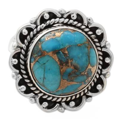 Composite Turquoise Ring with Sterling Silver Petals