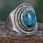 Sterling Silver and Composite Turquoise Cocktail Ring, 'Blue Bayou'