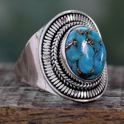 contemporary silver rings in san - Sterling Silver and Composite Turquoise Cocktail Ring