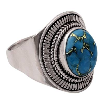 Sterling Silver and Composite Turquoise Cocktail Ring