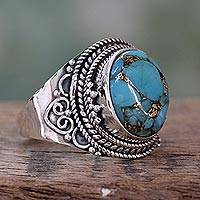 Sterling silver cocktail ring, 'Golden Greeting' - Sterling Silver Fair Trade Ring with Composite Turquoise