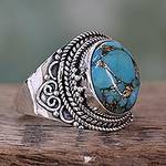 Sterling Silver Fair Trade Ring with Composite Turquoise, 'Golden Greeting'