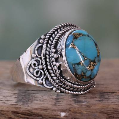 Sterling Silver Fair Trade Ring with Composite Turquoise