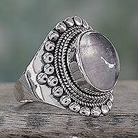 Rainbow moonstone cocktail ring, 'Misty Morning' - Indian Artisan Handcrafted 925 Sterling Silver with Moonston