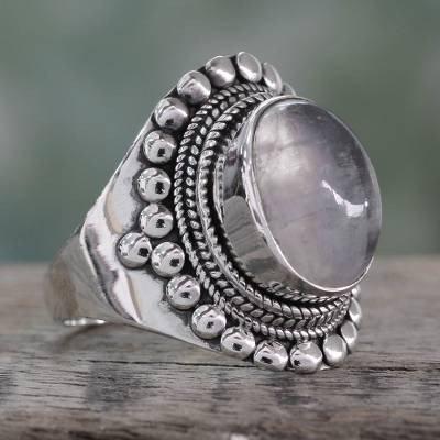 Cocktail Ring with Rainbow Moonstone in Sterling Silver
