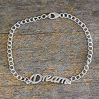 Sterling silver pendant bracelet, 'Remember to Dream' - Inspirational Sterling Silver Bracelet with Dream Message