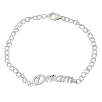 Inspirational Sterling Silver Bracelet with Dream Message