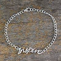 Sterling silver pendant bracelet, 'Remember to Inspire' - Sterling Silver 925 Bracelet with Inspire Pendant