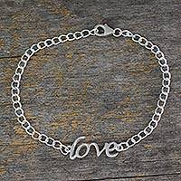 Sterling silver pendant bracelet, 'Remember to Love' - Love Themed Bracelet Hand Crafted from Sterling Silver