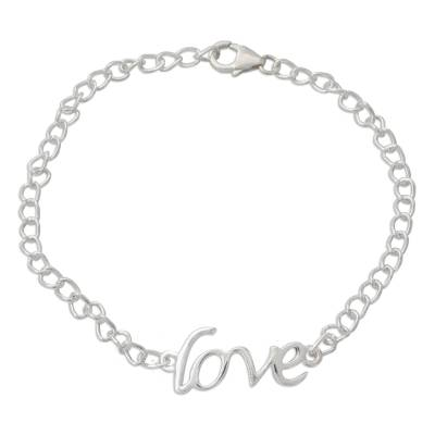 Love Themed Bracelet Hand Crafted from Sterling Silver