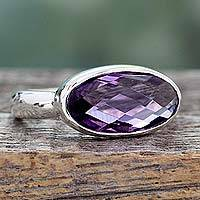 Amethyst cocktail ring, 'Purple Crown' - Three Carat Amethyst Cocktail Ring in Sterling Silver