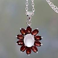 Moonstone and garnet pendant necklace, 'Rajasthan Star' - Moonstone and Garnet Pendant Necklace on Cable Chain