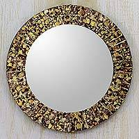 Glass mosaic mirror, 'Golden Splash' - Round Wall or Table Mirror with Glass Mosaic Frame