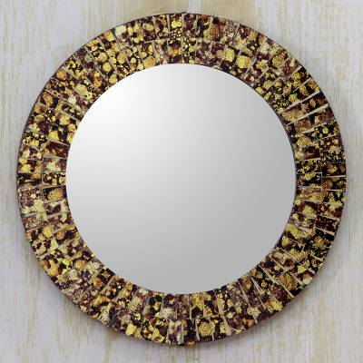 af0c7878b636 Round Wall or Table Mirror with Glass Mosaic Frame - Golden Splash ...